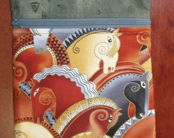 Cross body Mini messenger and cell phone bag- mythical horses fabric by Laurel Burch zip bag KBD10155