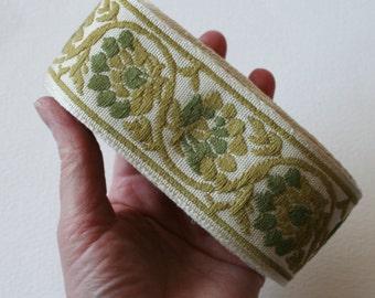 Vintage Upholstery Ribbon Trim 2 Tone Green Trim Leafy Scroll Design 17 METERS