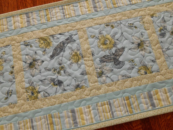 Astonishing Quilted Table Runner Blue Yellow Shabby By Download Free Architecture Designs Remcamadebymaigaardcom
