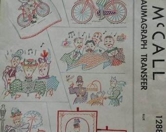1940s Kaumagraph Transfer Pattern Gay Nineties Motif Barbershop Quartet Parasol 1890s 1946 McCall 1288 UNCUT