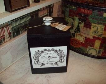SHABBY black Paris canister box organizer box ,PARIS decor,FRENCH decor,Paris bedroom decor,Paris bathroom,shabby chic