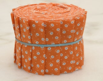 """Quilt Patchwork Jelly Roll 2 1/2"""" 20 Strips Mini Flower Circle Dot in Pastel Orange"""