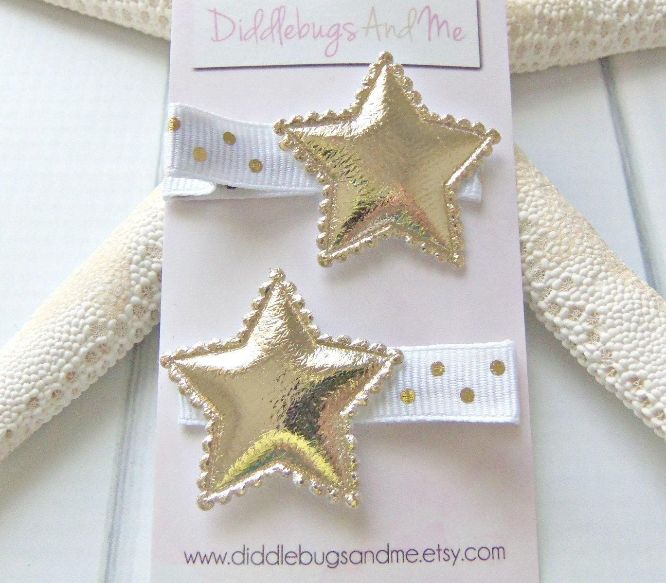 Gold Star Hair Clips Gold And White Star Hair Clips Girls