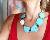 Turquoise Large Slab Chunky Statement Necklace