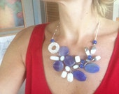 Statement Necklace One of a Kind Blue White Modern Wire Wrapped Trends
