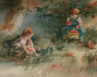 Watercolor Print Children and Apple Trees Framed Art