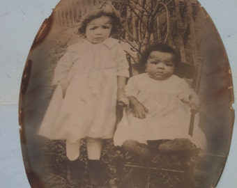 Antique Large African American Baby Girls Photograph