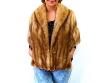 50s Honey Brown Mink Fur Stole Wrap Cape Vintage 1950s Wedding Stole