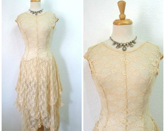 Vintage Lace Dress Handkerchief Ruffle Nude Bohemian Summer dress S