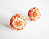 Clip On Earrings / Stud Earrings / Button Earrings - vintage tile pattern earrings