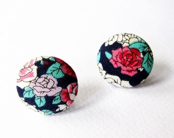 Button Earrings / Clip On Earrings  - purple and red rose earrings