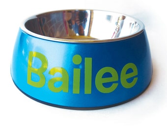 Personalized Dog Bowl with Name - Stainless Steel Removable Insert - Shimmer and Shine