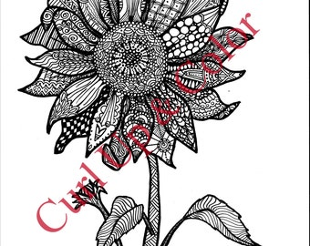 Adult Coloring Page - Sunflower - Instant Download - Zentangle - Doodle Illustration - DailyDoodler - Sunflower Unique Art Drawing