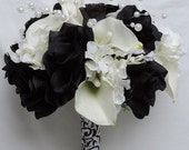 Black & White Roses, Hydrangeas, Pearl, Latex Real Touch Calla Lilies Silk Wedding Flowers Bridal Bouquet