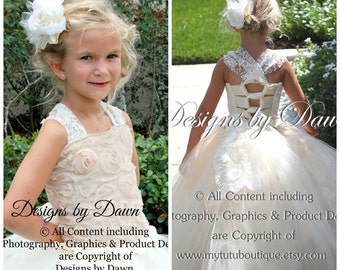 Ivory Champagne Flower girl Dress .Tutu Dress with lace and train. Mini Bride Dress. Chiffon Floral Ribbon Rosette Fabric. 6m-12 Girls.
