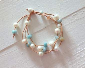amazonite and pearl leather bracelet