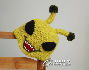 Alien Hat, Green Alien Hat, Monster Hat, Crochet Beanie, Halloween Costume, Boy's Clothing, Girl's Clothing, Accessories, Syfy Hat, Geekery