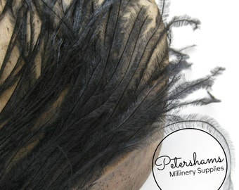 2 Ply Ostrich Feather Fringe Hat Trim for Millinery & Crafts - Black