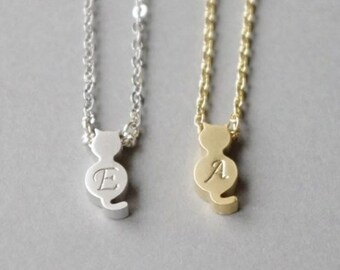 Cat Necklace, Silver Initial Necklace, Gold Initial Necklace, Cat Charm Necklace, Custom Jewelry, Pet Memorial, Cat Lover, Mother's Day Gift