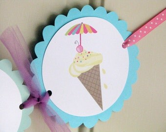 Ice cream High Chair Banner Colorful Bright Colors Ice cream Birthday Banner