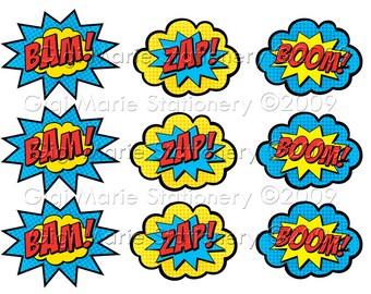 Comic Book BAM! ZAP! BOOM! Super Hero Speech Bubbles - Instant Download