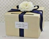 Wedding Card Box Champagne Gold and Navy Money Holder Customizable
