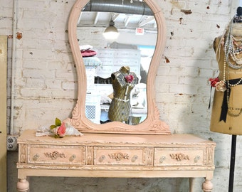 Painted Cottage Chic Shabby Romantic Entryway Mirror VAN452