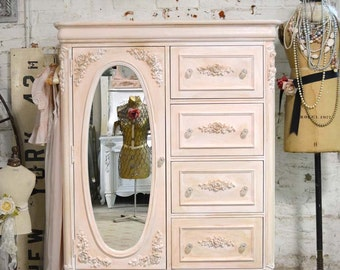 Painted Cottage Chic Shabby Romantic French  Dresser CH803