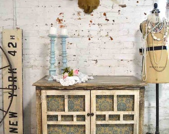 Painted Cottage Chic Shabby Hand Made Farmhouse Cabinet SV599
