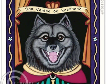 8x10 Keeshond Art - Patron Saint of Smiles - Art print by Krista Brooks