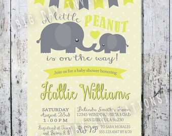 Yellow Gender Neutral Baby Shower Invitation Elephant Little Peanut Baby Shower Invitation Boy Baby Shower Invitation - Free Back Side File