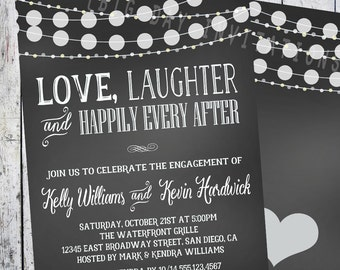 Chalkboard Engagement invitation, Engagement Party invitation, Love Laughter Happily Every after