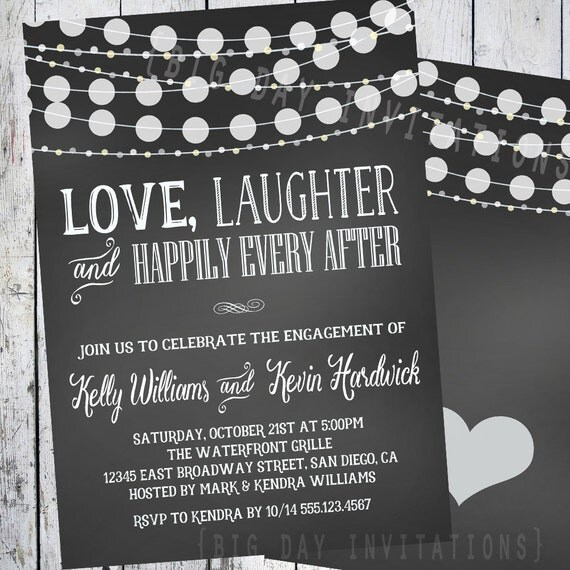 Invitation For Reception After The Wedding: Chalkboard Engagement Invitation Engagement Party Invitation