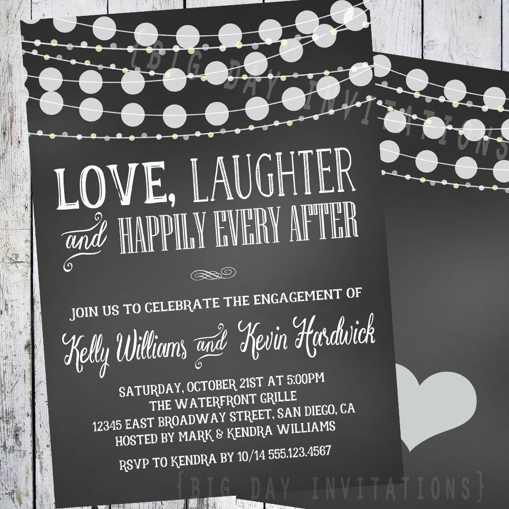Chalkboard Engagement invitation Engagement Party invitation – Engagement Party Invitations Etsy