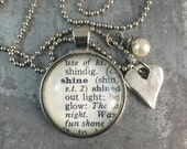 One Word Dictionary Necklace- Shine with Heart Charm