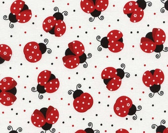 Timeless Treasures - Black White and Red All Over - Dots and Ladybugs on White Fabric by the Yard C3616-WHT