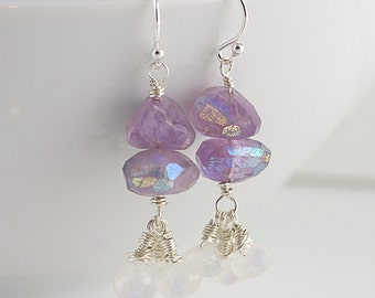 Mystic Amethyst & Moonstone Sterling Silver Earrings