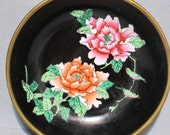 Vintage Hand Painted Porcelain Plate Framed in Brass / Pink and Orange Roses Trinket Dish Ring Holder Vanity Tray, Decorative Wall Hanging