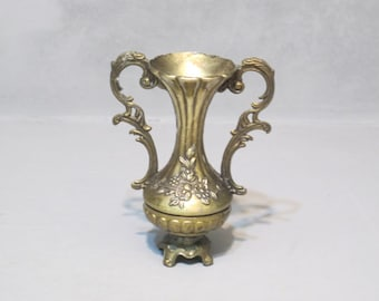Vintage Ornate Brass Bud Vase / Shabby Chic Gold Tone Metal Vase Cottage Decor, Floral Country Chic Antique Finish Petite Vase Made In Italy