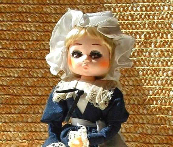 1960's  Big Eye Vintage Pose Bradley Stockinette Doll - 8 inches Tall  Original Dress - MISS AUGUST