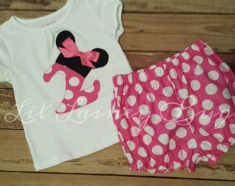 Disney Inspired Minnie Mouse Outfit -Baby Toddler Girls Bloomers Shorts -Perfect for Disney Trips - Birthday Gift- Pink Polka Dots