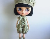 Blythe Jumpsuit with a Cap and Sock : Japanese Weaved Fabric , Green Check and Flower, Vintage  Inspired (3 pieces per set)