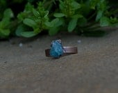 Rustic and Bohemian Electroformed Raw Blue Apatite Crystal Oxidized Copper Ring SIZE 6.5