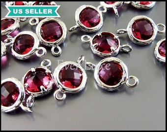 2 Tiny round ruby jewelry pendant connectors / ruby crystal glass beads / silver frame jewelry links 5095R-RU