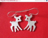 SALE 10% Fawn Dangle Earrings Sterling Silver Reindeer Deer Earrings Bambi Dangle Earrings Girls earrings Kids  Jewelry Children charm