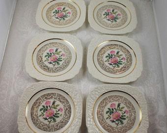 "Set of Six Square 7"" Harker Pottery 22K Gold Pink Rose Floral Plates"