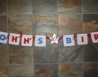 Happy 80 70 60 50 40 Birthday Banner - Red Blue Gray - Custom Made to Match Party Colors