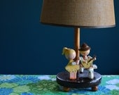 Vintage Children's Wooden Lamp with Original Shade by Irmi
