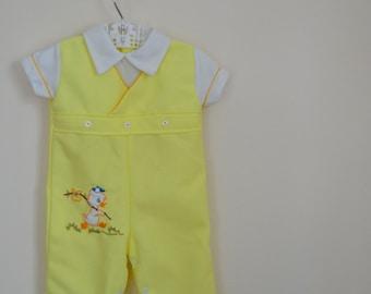 Vintage Yellow Baby Jumpsuit with Wayfarer Duck Applique - Size 3-6 Months
