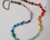 Long Rainbow Necklace, Long ombre 7 Chakra, Lucky Bohemian Love beads, Lovewins statement, OOAK Multi Gemstone Necklace